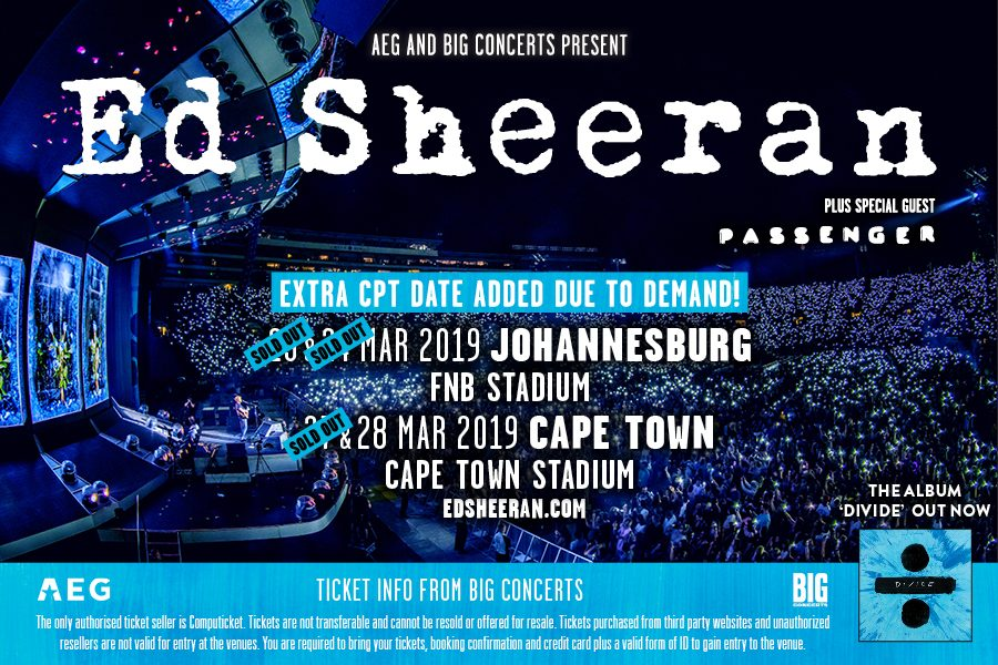 WIN TICKETS TO SEE ED SHEERAN LIVE AT CAPE TOWN STADIUM!