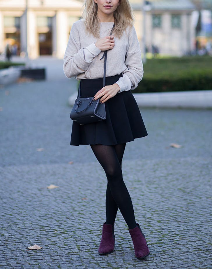 d83a178aa Wear mini skirts with long jackets. If you re not into the whole tights  thing