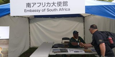 PICS: LOCAL COP PROMOTES SOUTH AFRICA AT RUGBY WORLD CUP EMBASSY STALL