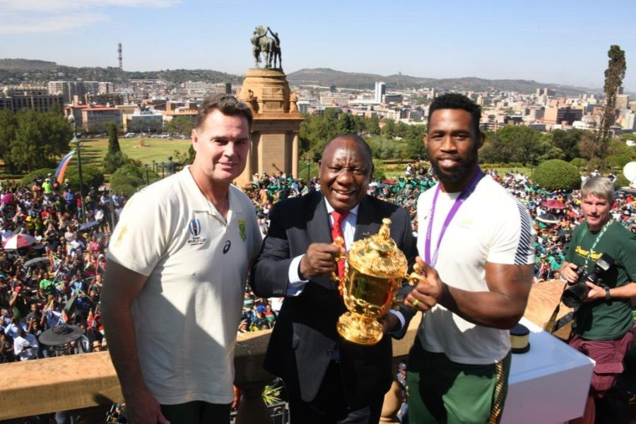 WATCH: CYRIL RAMAPHOSA WELCOMES THE SPRINGBOKS TO UNION BUILDINGS