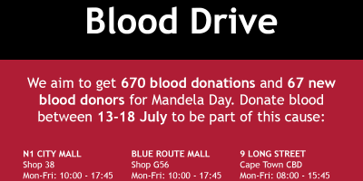 Donate Blood For Mandela Day!
