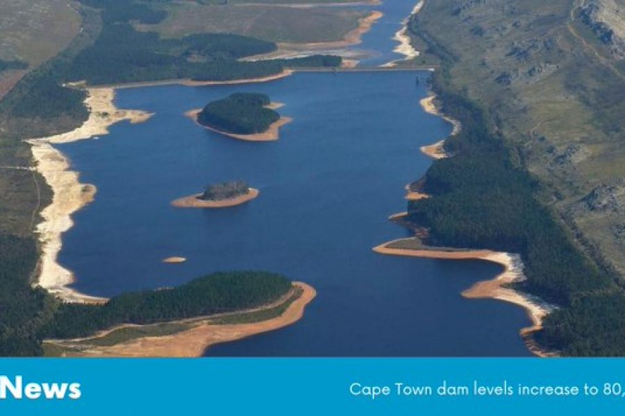 Cape Town dam levels increase to 80,4%