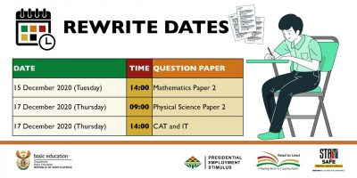 Matrics to rewrite two of their 2020 examination-papers