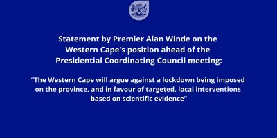 Premier Alan Winde says the Western Cape will argue against a lockdown on the province, and in favour of targeted, local interventions.