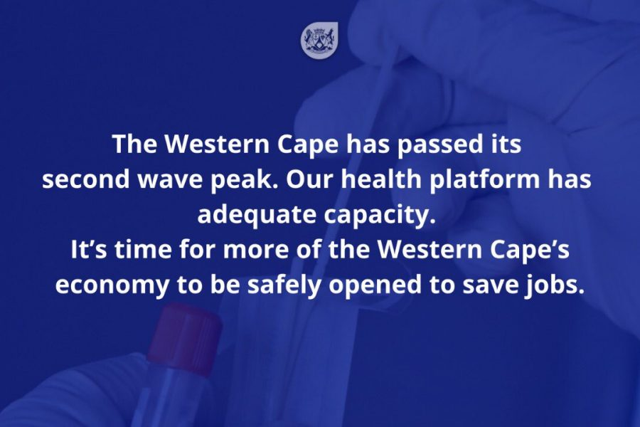 Premier Winde: The Western Cape has passed its second wave peak, time to reopen more of the economy