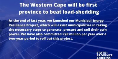 Winde: Western Cape poised to beat load-shedding