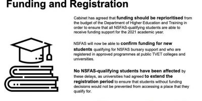NSFAS-funding to be prioritized for first-time University students
