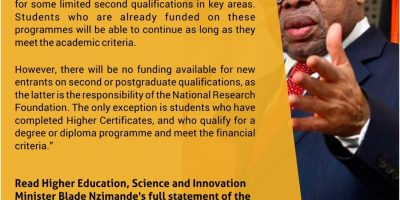 Post-graduate NSFAS-dependent students to be assisted through National Skills Fund