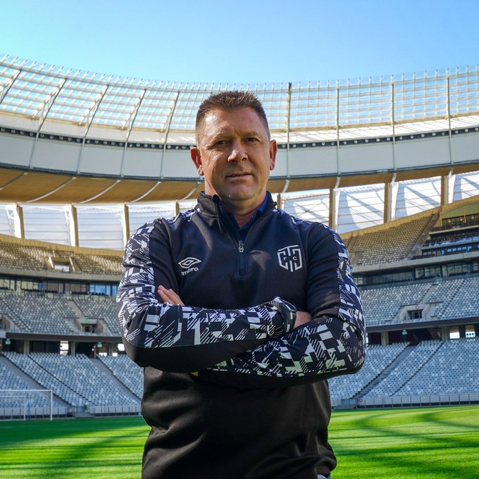 Eric Tinkler standing in an empty Cape Town Stadium