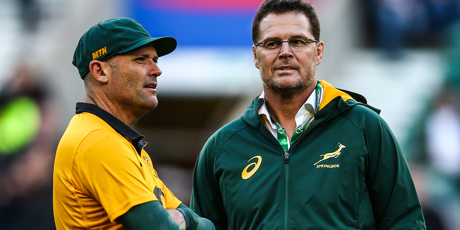 Springbok coach Jacques Nienaber & SA Rugby Director of Rugby Rassie Erasmus