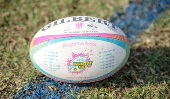 FNB Varsity Cup Gilbert rugby ball on field