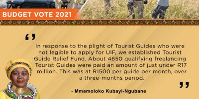 Tourism operators received R 3-billion in aid during the Covid-19 pandemic