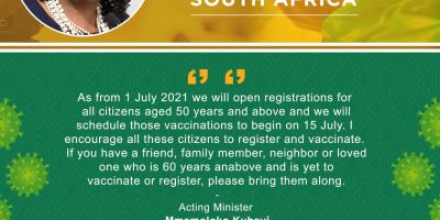 Government has encouraged people over 50 years of age to register for their Covid-19 jab from 1 July