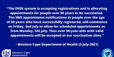 WC Health Department: Vaccination SMS appointments for people 50 years and above, are now being sent out