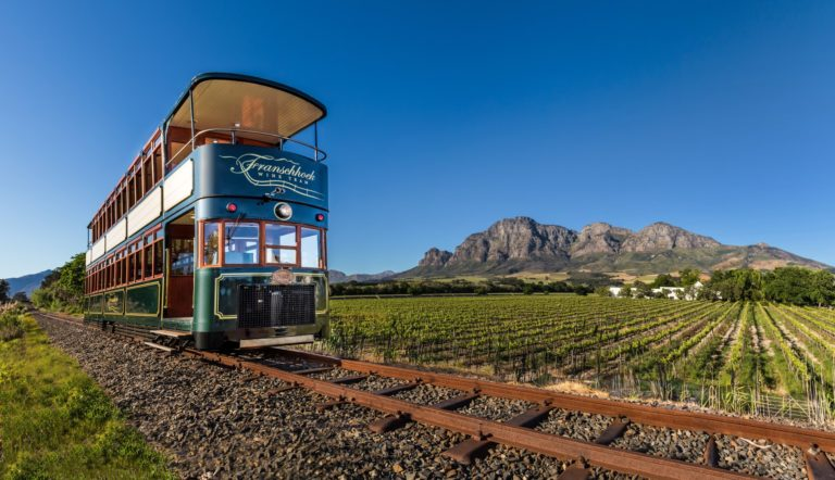 The Franschhoek Wine tram is just one one of the many attractions on offer in the town