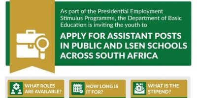 Western Cape youth encouraged to apply for Basic Education Employment Initiative positions